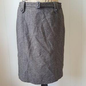 Ann Taylor Pencil Skirt Belt Wool Silk Blend Gray